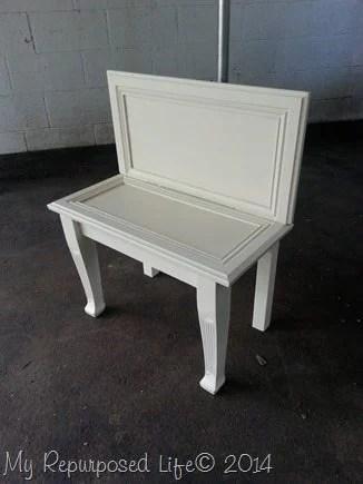 small-white-bench-repurposed-cabinet-doors