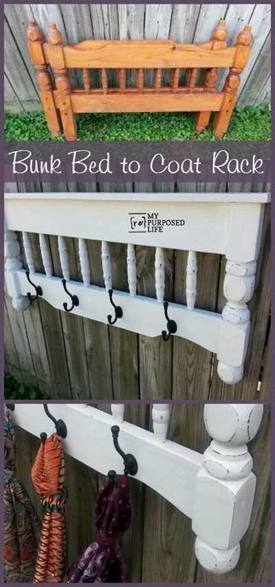 My Repurposed Life White Coat Rack made from a repurposed bunk bed