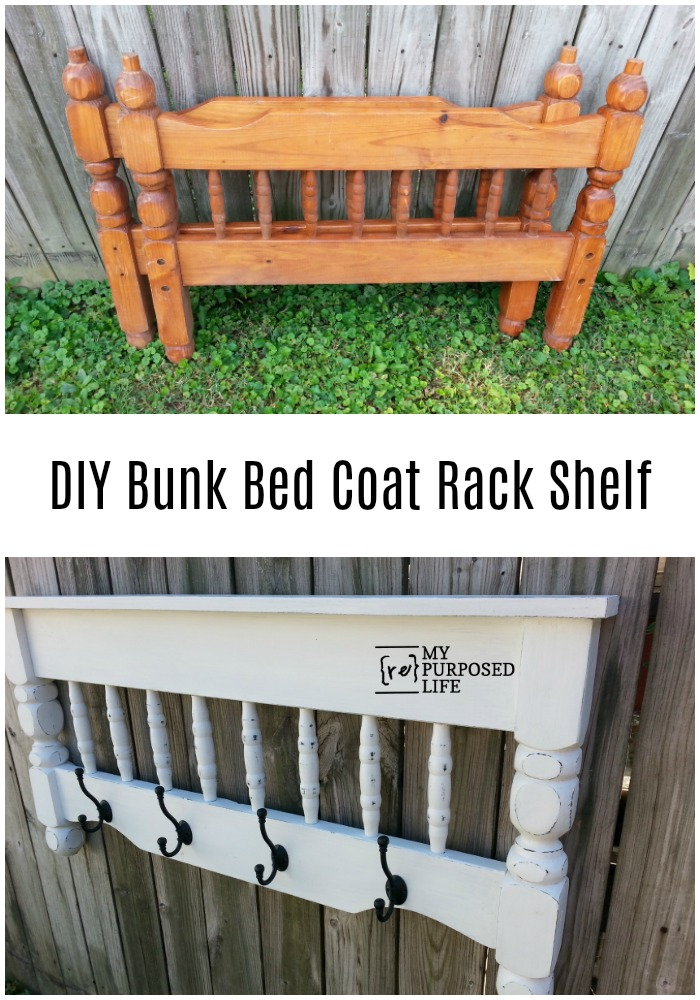 My Repurposed Life will show you how to make a DIY Coat Rack out of a repurposed bunk bed. Great tips on painting and distressing. #MyRepurposedLife #repurposed #bed #bunkbed #diy #coatrack #distressed #painting via @repurposedlife