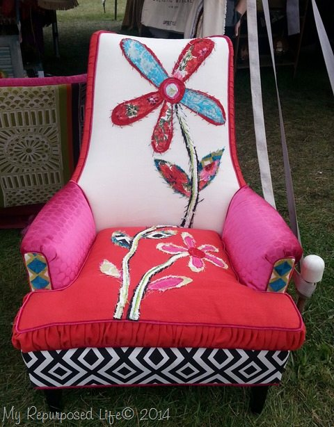 upholstered-chair-with fabric-embellishments