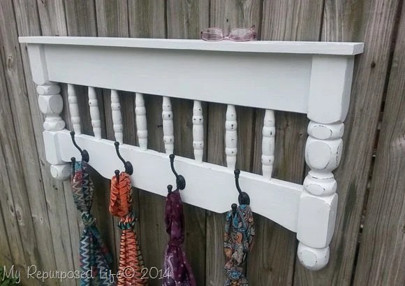 white coat rack shelf- this is made from a bunk bed!
