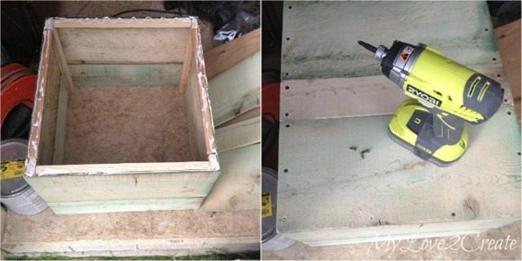 attaching bottom boards to storage crate