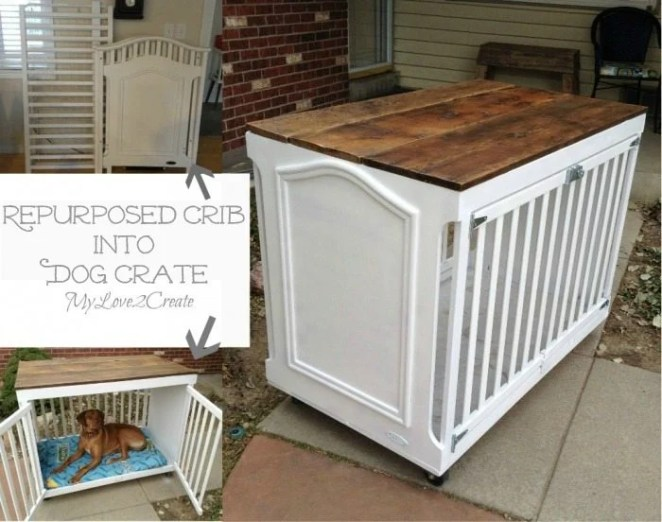 MyLove2Create Repurposed Furniture turning a Crib into a Dog Crate