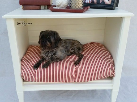 MyRepurposedLife-repurposed-tv-cabinet-dog-bed-side-table