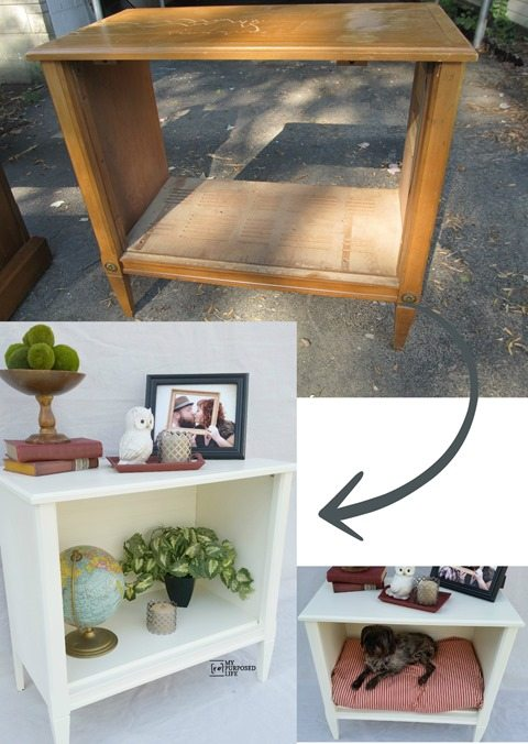 repurposed tv stand into a side cabinet