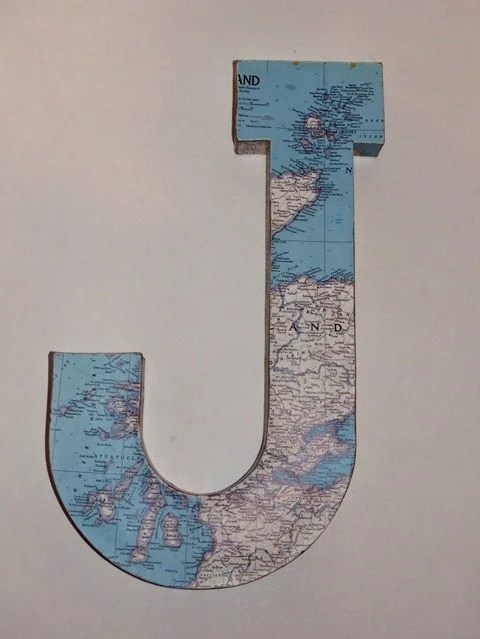 monogrammed-map-decoupage