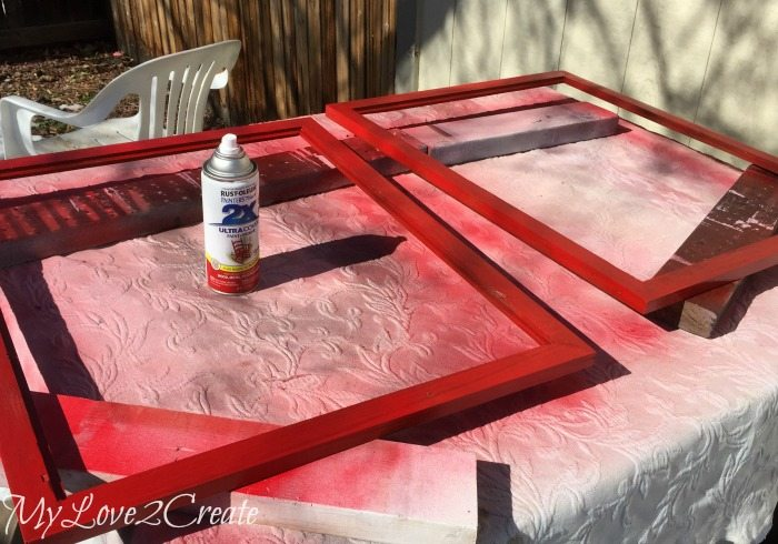 spray paint picture frames