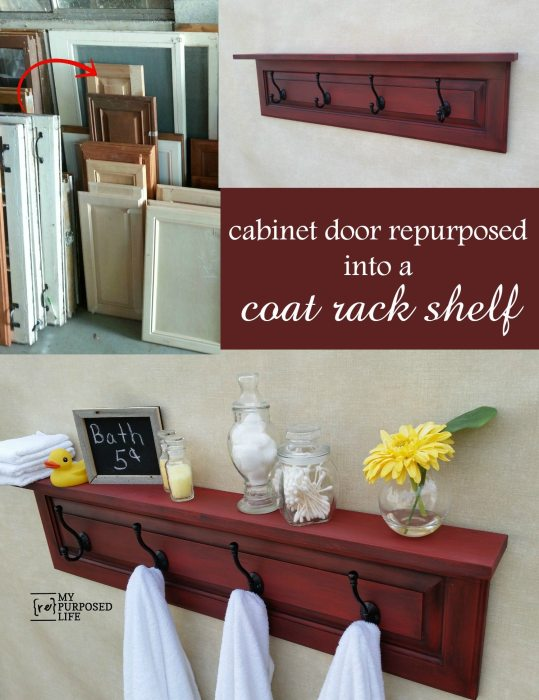 Cabinet door Repurposed into a coat rack shelf