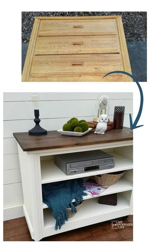 an old dresser makes a great media center and more!