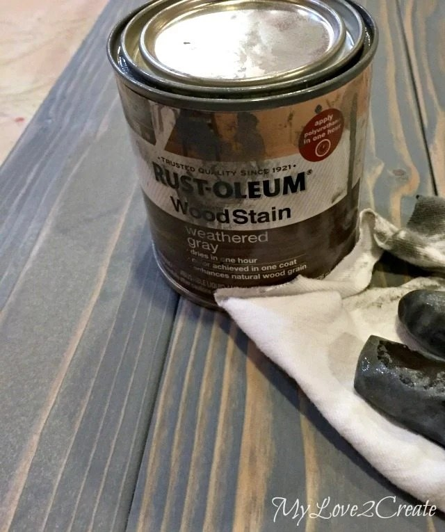 Staining bench top with Rustoleum weathered gray