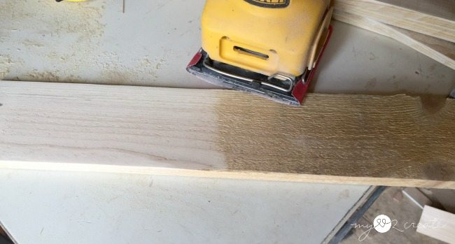 sanding pallet wood