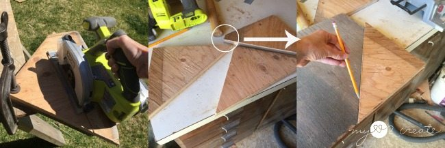 cutting out triangle shelves