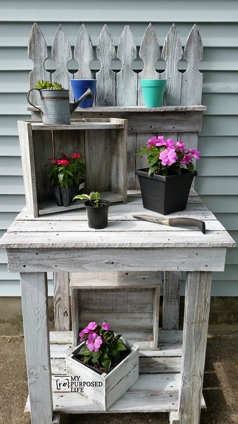 Excellent Reclaimed Wood Potting Bench My Repurposed Life Rescue Re Ibusinesslaw Wood Chair Design Ideas Ibusinesslaworg