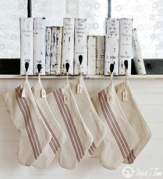 repurposed books stocking hangers
