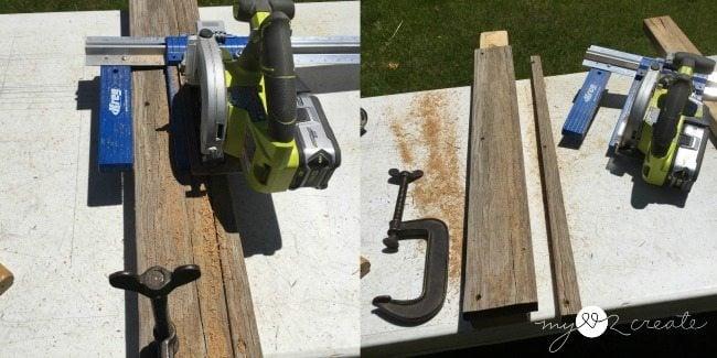 ripping deck board with keg rip cut and circular saw