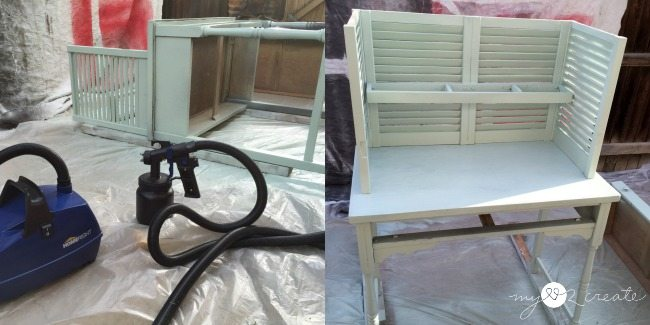 using Home Right Sprayer to prime potting bench