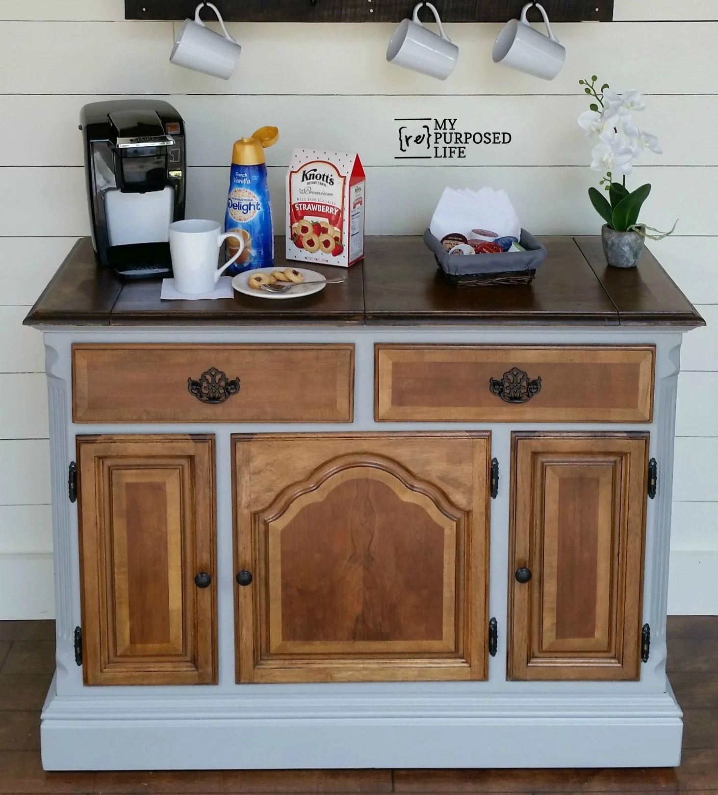 Astounding Coffee Station Repurposed Buffet My Repurposed Life Frankydiablos Diy Chair Ideas Frankydiabloscom