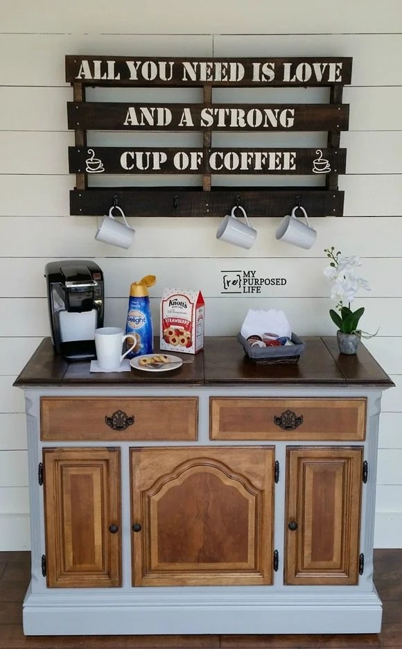 A very old and ugly buffet gets a new lease on life as a coffee station. The two tone paint brings out all the original beauty as well as hides a few of the aging flaws. Great tips on repurposed furniture projects. #MyRepurposedLife #Repurposed #furniture #projects #diy #buffet #coffeestation via @repurposedlife