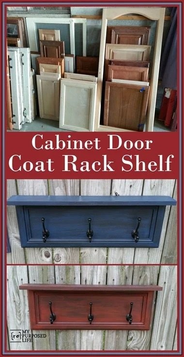 These easy cabinet door coat racks are perfect for any small space where you may need to hang hats, scarves, backpacks or jackets. Complete instructions to make your own coat rack from a cabinet door. #MyRepurposeLife #repurposed #cabinetdoor #coatrack #kitchen #mudroom #kids #organization via @repurposedlife