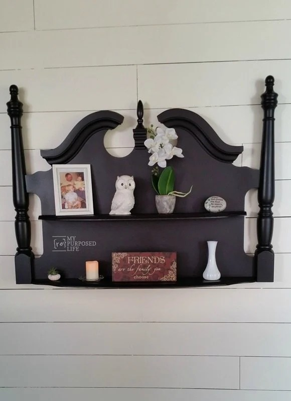 turn an old headboard into a unique wall shelf