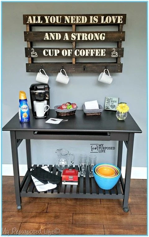 Update an old computer desk with a bottom shelf in order to use it as a new piece of furniture. Great for a coffee station, kitchen island or craft table! #MyRepurposedLife #repurposed #furniture #coffeestation #wrappingstation #kitchenisland  via @repurposedlife