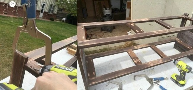 Adding middle support boards to bench seat and shelf