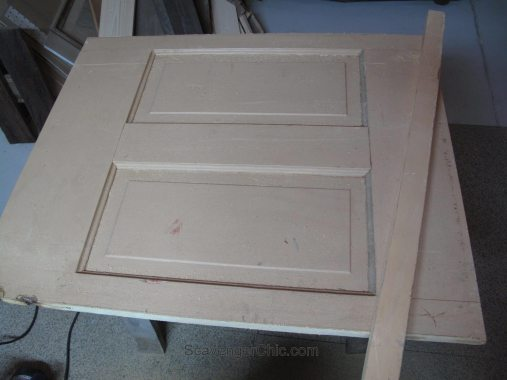 Door Coffee Table preparing the top