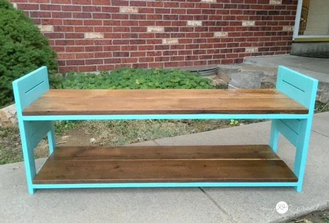 front view of reclaimed children's bench