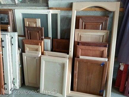 Lots of cabinet doors in storage