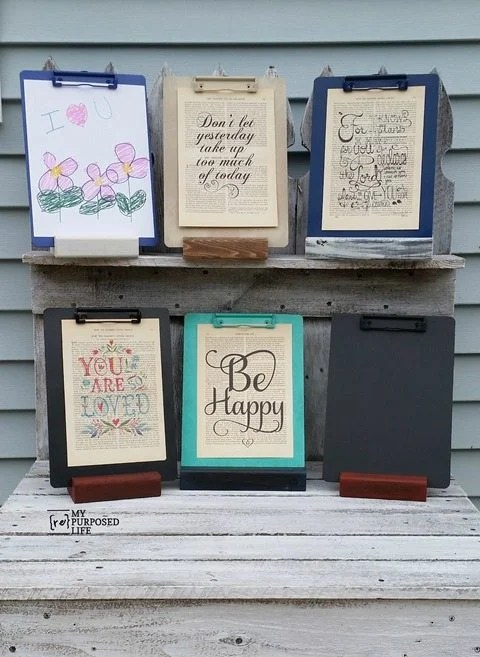 how to make a clipboard stand-great for every room in the house to hold artwork, notes and more!