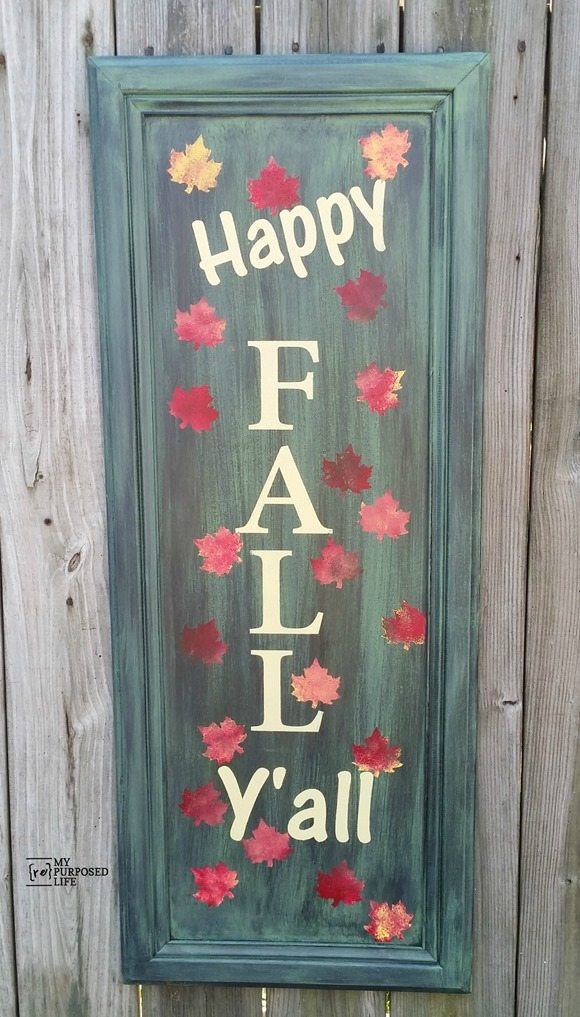 easy cabinet door project painted with a Finish Max and stenciled-Happy Fall Y'all