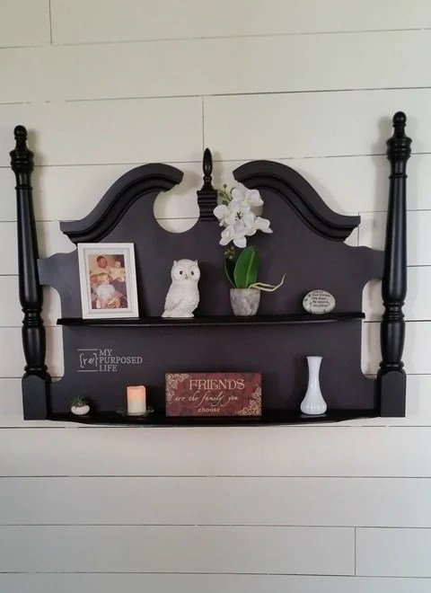 How to make a large shelf out of an old headboard. So popular on the blog! Step by step directions. #MyRepurposedLife #repurposed #furniture #shelf  via @repurposedlife