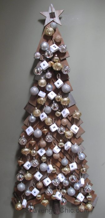 Advent Calendar Christmas tree, cedar shingles, wood christmas tree