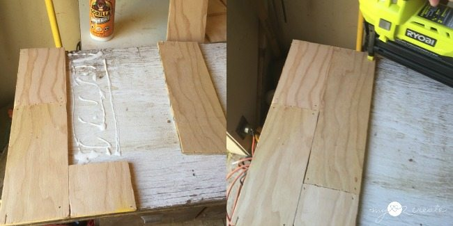 nail on 14 ply wood strips to scrap plywood to make planks