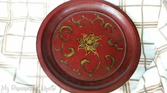 thrift-store-red-pedestal-plate