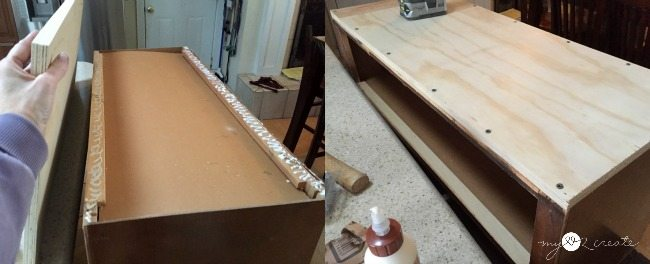 attaching plywood bottom to bench