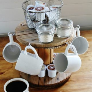 repurposed wooden cable spool coffee station