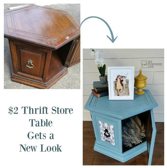 Hexagon Side Table Makeover easy decoupage project! Tips for decoupage, painting, and distressing. You will want to save this to refer back to! #MyRepurposedLife #repurposed #furniture #makeover #tips #tricks #diy #decoupage #distressing #painted via @repurposedlife