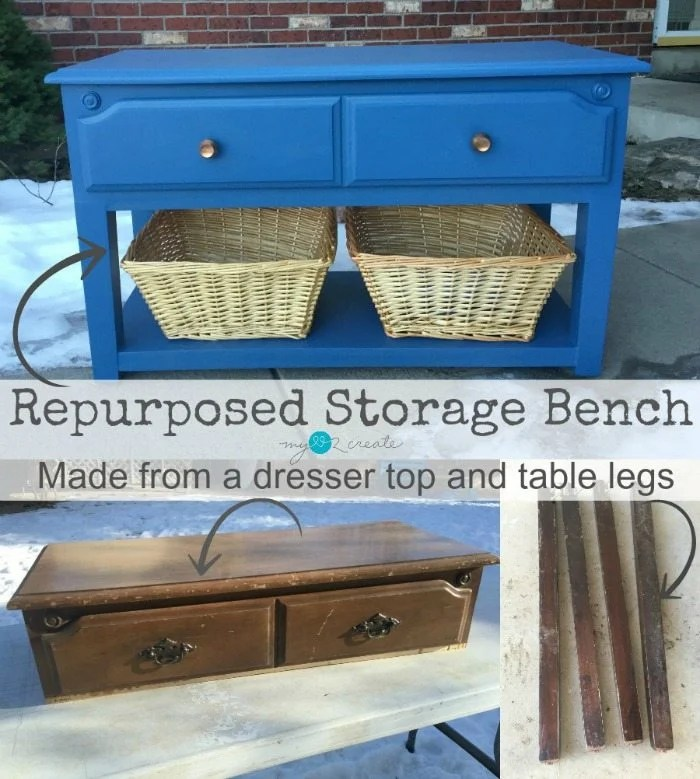 Repurposed Storage Bench, from dresser top and table legs