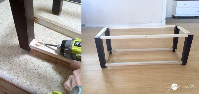 adding shelf support to storage bench