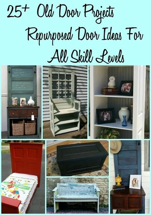 Old Door project ideas for repurposing doors into fun and functional new pieces. These include benches, headboards, hall trees, and more!  #MyRepurposedLife #repurposed #upcycle #door #diy #projects via @repurposedlife