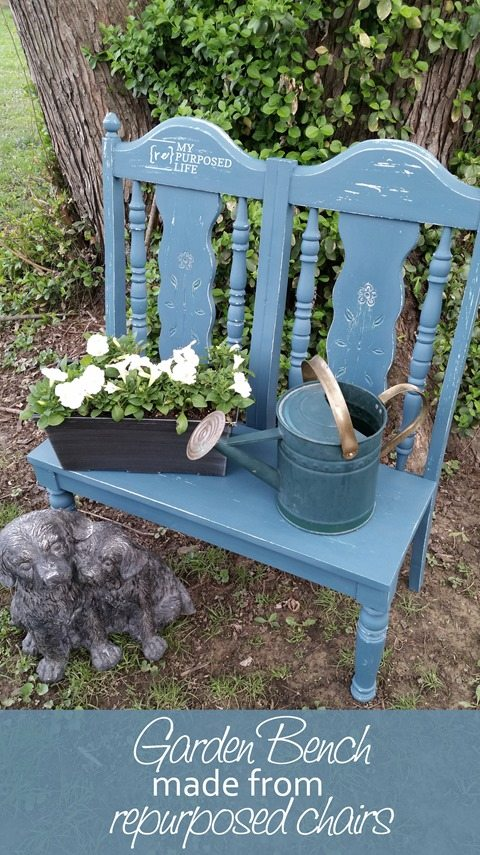 small repurposed chair garden bench MyRepurposedLife.com