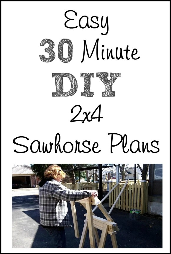 30 minute easy diy 2x4 sawhorse plans MyRepurposedLife.com