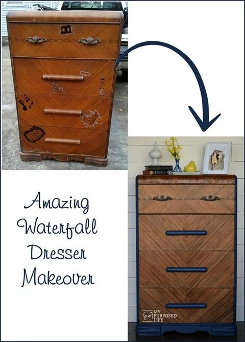 MyRepurposedLife.com Amazing Waterfall Dresser Makeover