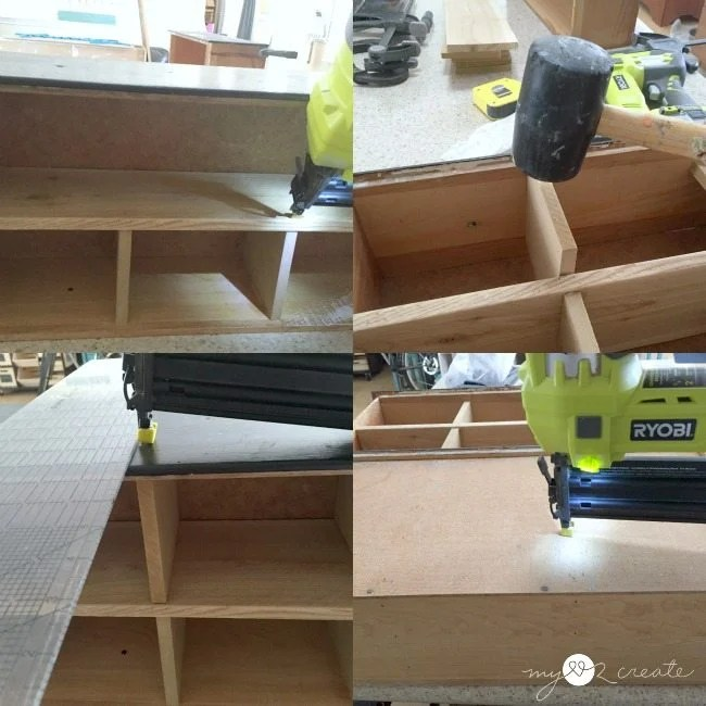 adding top dividers and nailing in place