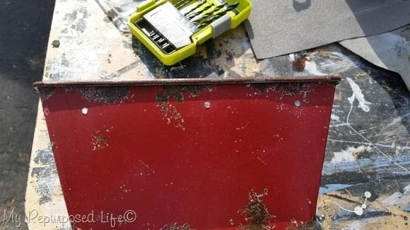 drill holes red tin basket
