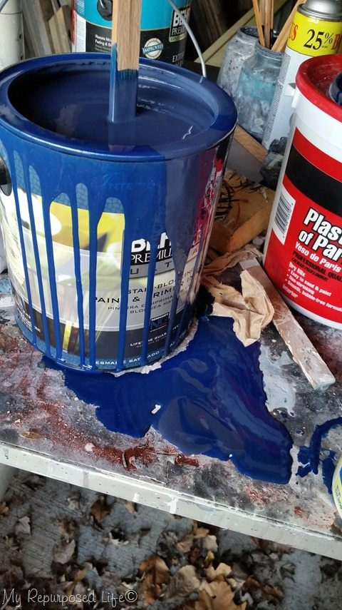 messy blue paint