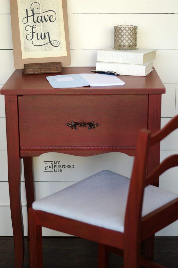 red side table or writing desk MyRepurposedLife.com