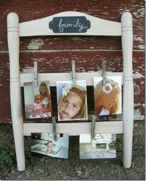 repurposed chair photo holder