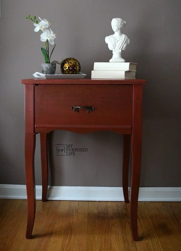 repurposed sewing cabinet into a red side table MyRepurposedLife.com